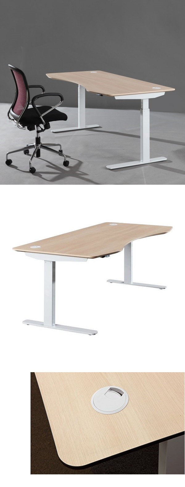 ApexDesk Series 71-in Wide Adjustable Standing Desk - Light Oak