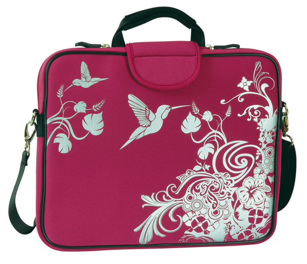 "13.3"" Laptop Sleeve, Handle, Shoulder Strap Cherry Hummingbird"