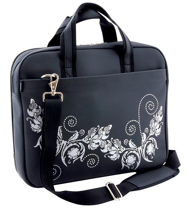 16in Black Butterfly Slim Laptop Tote with Handle and Shoulder S