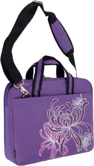 16in Purple Cereus Slim Laptop Tote with Handle and Shoulder Str