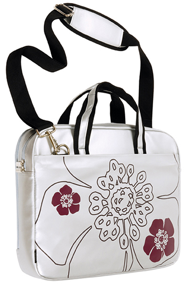 16in Silver Petal Slim Laptop Tote with Handle and Shoulder Stra
