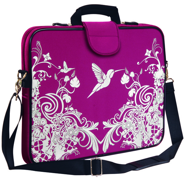 "15.6"" Laptop Sleeve, Handle, Shoulder Strap Cherry Hummingbird"
