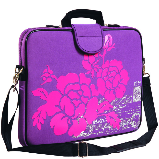 "13.3"" Laptop Sleeve, Handle, Shoulder Strap Purple Hibiscus"