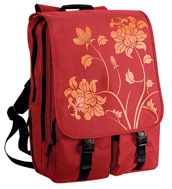 Fuji Style 17in Red Blossom Laptop/Notebook Backpack