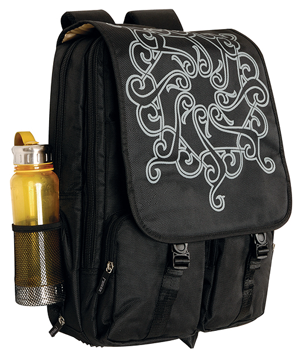 Fuji Style 17in Black Tattoo Laptop/Notebook Backpack