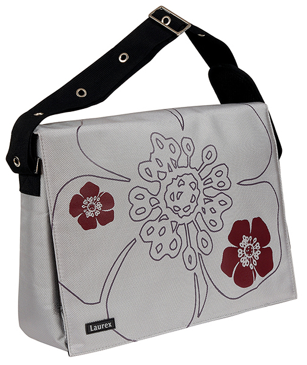 Fuji Style 15.4in Silver Petal Laptop/Notebook Messenger Bag wit