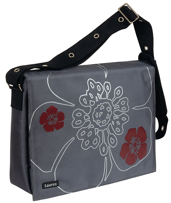 Fuji Style 17in Silver Petal Laptop/Notebook Messenger Bag with