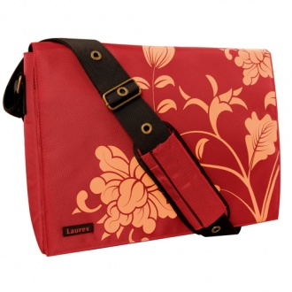 Fuji Style 15.4in Red Blossom Laptop/Notebook Messenger Bag with