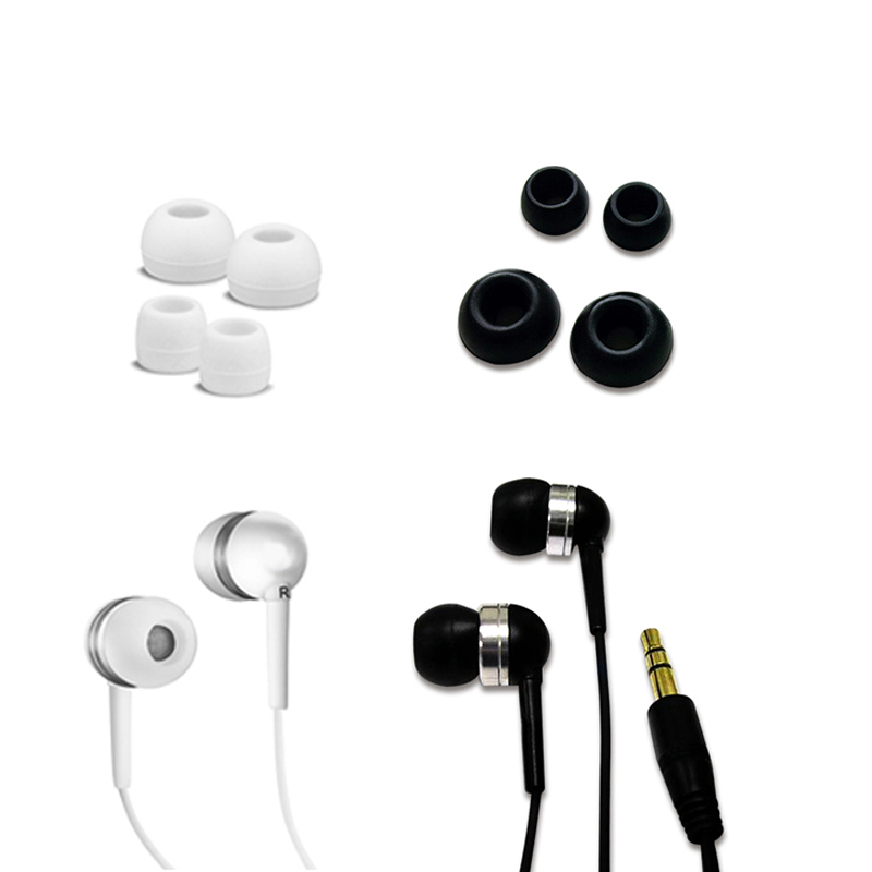 Fuji Labs Acoustic Sealed Silicon Earbud Headphones Black&White