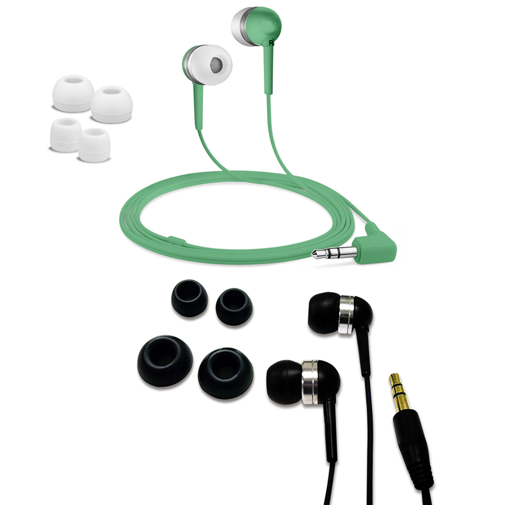 Fuji Labs Acoustic Silicon Green and Black Earbuds Bundle