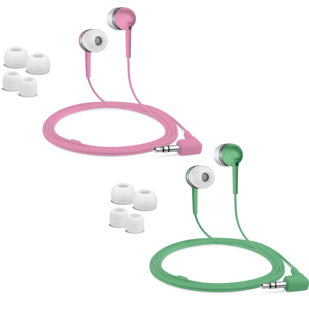 Fuji Labs Acoustic Silicon Green and Pink Earbuds Bundle