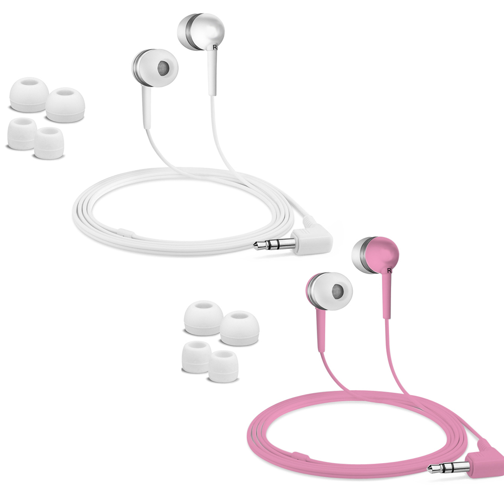 Fuji Labs Acoustic Silicon Pink and White Earbuds Bundle