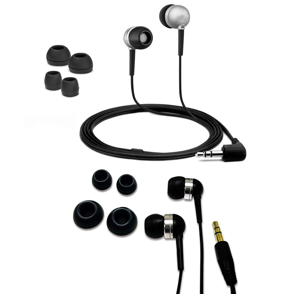 Fuji Labs Acoustic Silicon Silver and Black Earbuds Bundle
