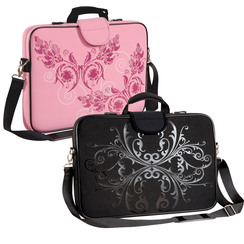 "15.6"" Screen Size Laptop Sleeve, Shadow Bloom and Pink Butterfly"