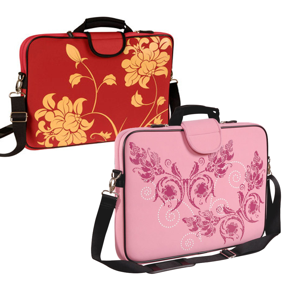 "15.6"" Screen Size Laptop Sleeve, Red Bloom and Pink Butterfly"