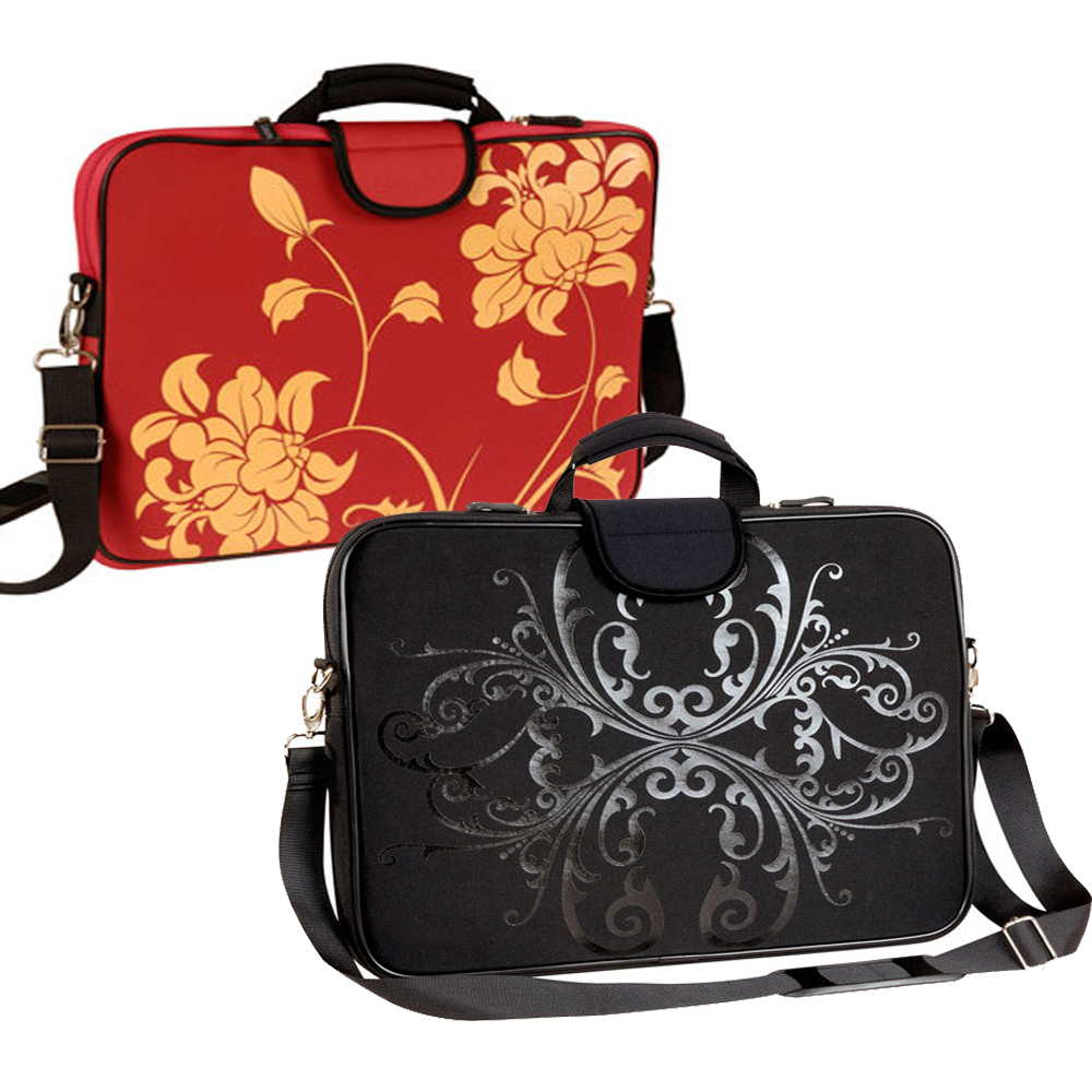 "15.6"" Screen Size Laptop Sleeve, Red Bloom and Shadow Bloom Bund"