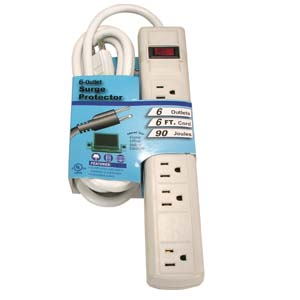 Fuji Labs 6Ft 6-Outlet Perpendicular Surge Protector 15A 90J UL